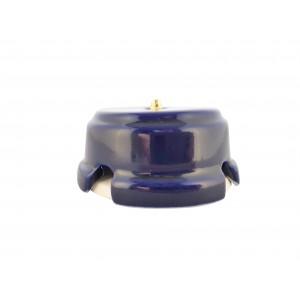 Коробка распаячная монтажная фарфоровая, цвет azzurra (лазурный), золотистая фурнитура