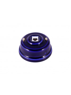 Розетка компьютерная фарфоровая, цвет azzurra (лазурный), золотистая фурнитура