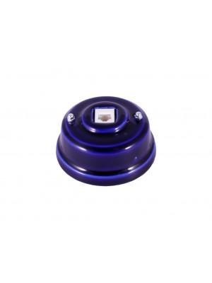 Розетка телефонная фарфоровая, цвет azzurra (лазурный), серебристая фурнитура