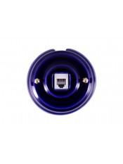 Розетка телефонная фарфоровая, цвет azzurra (лазурный), золотистая фурнитура