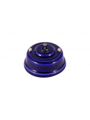 Выключатель фарфоровый однорычажковый проходной, цвет azzurra (лазурный), тумблер бронза