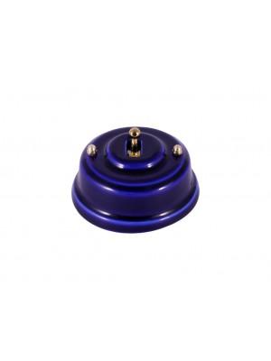 Выключатель фарфоровый однорычажковый, цвет azzurra (лазурный), тумблер золото