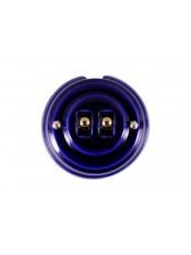 Выключатель фарфоровый двухрычажковый, цвет azzurra (лазурный), тумблер золото