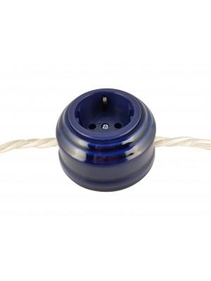 Розетка фарфоровая проходная с/з, цвет azzurra (лазурный), серебристая фурнитура