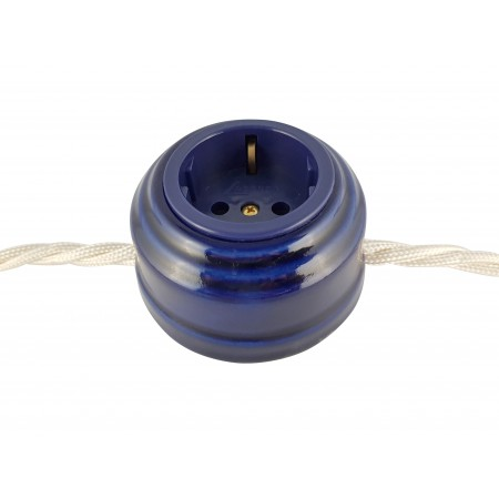 Розетка фарфоровая проходная с/з, цвет azzurra (лазурный), золотистая фурнитура