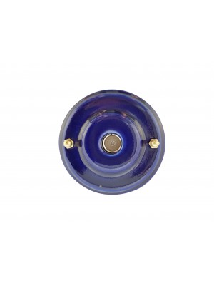 Розетка телевизионная оконченная фарфоровая, цвет azzurra (лазурный), золотистая фурнитура