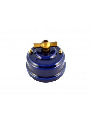 Выключатель (переключатель) фарфоровый поворотный проходной, цвет azzurra (лазурный), ручка бронза