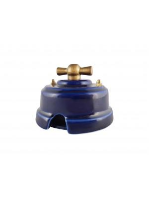 Выключатель фарфоровый поворотный двухклавишный, цвет azzurra (лазурный), ручка бронза