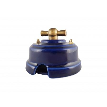 Выключатель фарфоровый поворотный одноклавишный, цвет azzurra (лазурный), ручка бронза