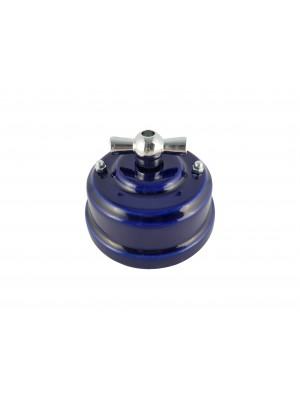 Выключатель фарфоровый поворотный двухклавишный, цвет azzurra (лазурный), ручка серебро