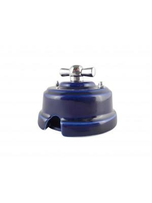 Выключатель фарфоровый поворотный одноклавишный, цвет azzurra (лазурный), ручка серебро