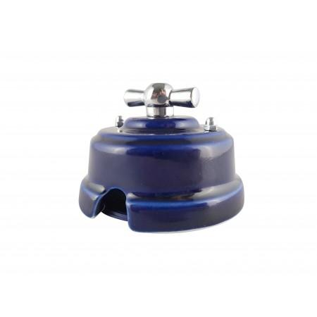 Выключатель (переключатель) фарфоровый поворотный одноклавишный проходной, цвет azzurra (лазурный), ручка серебро
