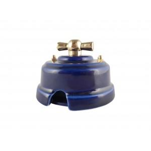 Выключатель (переключатель) фарфоровый поворотный проходной, цвет azzurra (лазурный), ручка золото