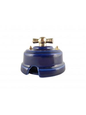 Выключатель фарфоровый поворотный одноклавишный, цвет azzurra (лазурный), ручка золото