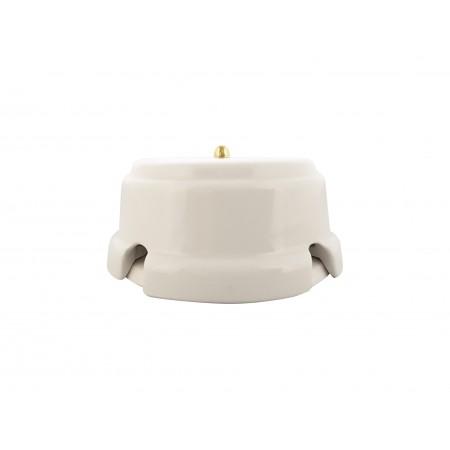 Коробка распаячная монтажная фарфоровая, цвет bianco (белый), золотистая фурнитура