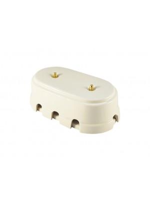 Коробка распаячная большая монтажная фарфоровая, цвет bianco (белый), золотистая фурнитура