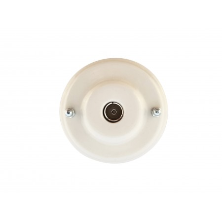 Розетка телевизионная оконченная фарфоровая, цвет bianco (белый), серебристая фурнитура