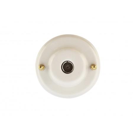 Розетка телевизионная оконченная фарфоровая, цвет bianco (белый), золотистая фурнитура