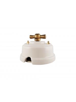 Выключатель фарфоровый поворотный двухклавишный, цвет bianco (белый), ручка бронза