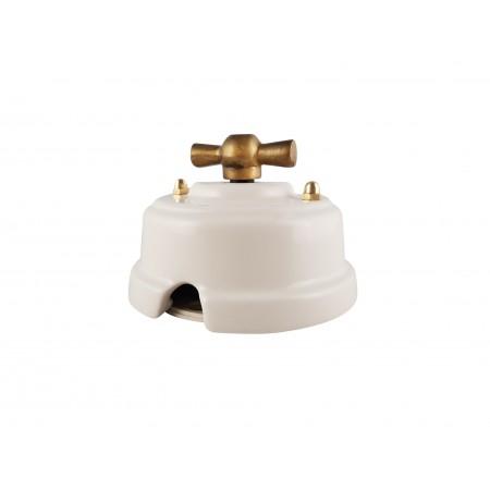 Выключатель (переключатель) фарфоровый поворотный одноклавишный проходной, цвет bianco (белый), ручка бронза
