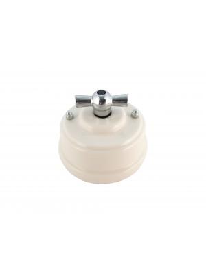 Выключатель (переключатель) фарфоровый поворотный проходной, цвет bianco (белый), ручка серебро