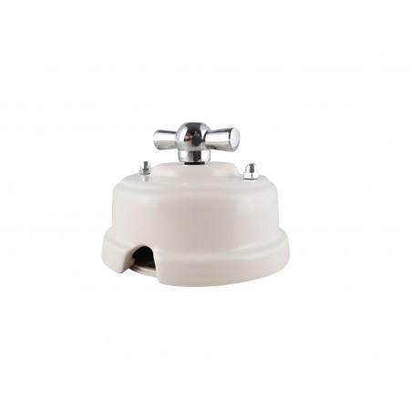 Выключатель (переключатель) фарфоровый поворотный одноклавишный проходной, цвет bianco (белый), ручка серебро