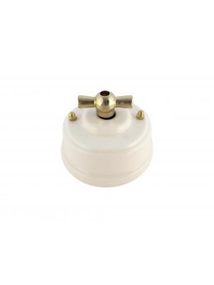 Выключатель фарфоровый поворотный одноклавишный, цвет bianco (белый), ручка золото