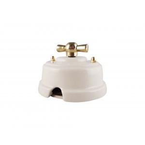 Выключатель (переключатель) фарфоровый поворотный одноклавишный проходной, цвет bianco (белый), ручка золото