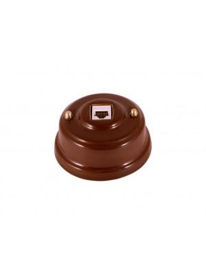 Розетка компьютерная фарфоровая, цвет bruno (коричневый), золотистая фурнитура