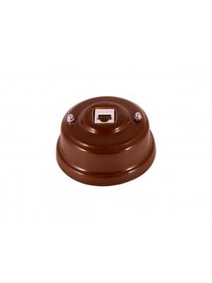 Розетка компьютерная фарфоровая, цвет bruno (коричневый), серебристая фурнитура