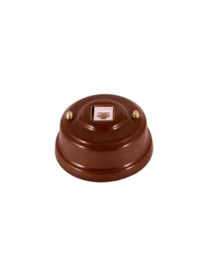 Розетка телефонная фарфоровая, цвет bruno (коричневый), золотистая фурнитура