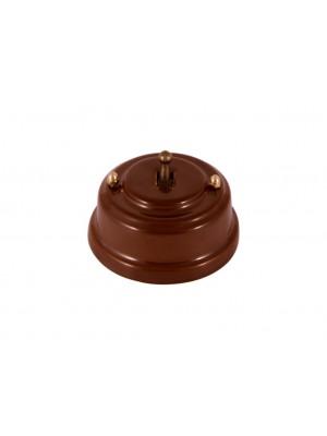 Выключатель фарфоровый однорычажковый проходной, цвет bruno (коричневый), тумблер бронза