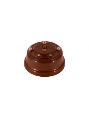 Выключатель фарфоровый однорычажковый, цвет bruno (коричневый), тумблер золото