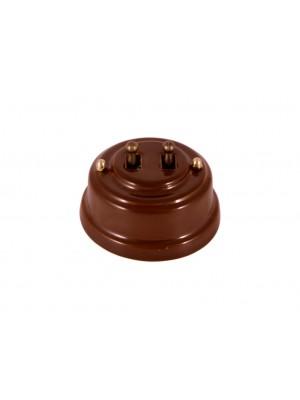 Выключатель фарфоровый двухрычажковый, цвет bruno (коричневый), тумблер бронза