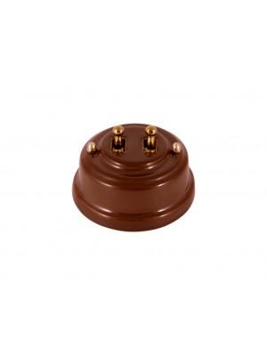 Выключатель фарфоровый двухрычажковый, цвет bruno (коричневый), тумблер золото
