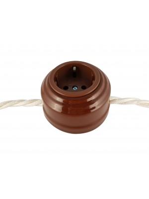 Розетка фарфоровая проходная с/з, цвет bruno (коричневый), серебристая фурнитура