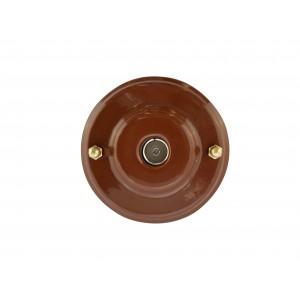 Розетка телевизионная оконченная фарфоровая, цвет bruno (коричневый), золотистая фурнитура