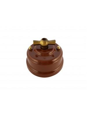 Выключатель фарфоровый поворотный двухклавишный, цвет bruno (коричневый), ручка бронза