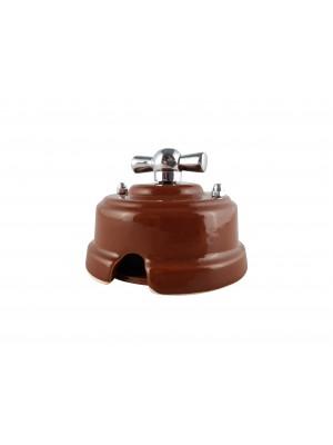Выключатель (переключатель) фарфоровый поворотный одноклавишный проходной, цвет bruno (коричневый), ручка серебро
