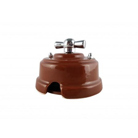Выключатель фарфоровый поворотный одноклавишный, цвет bruno (коричневый), ручка серебро