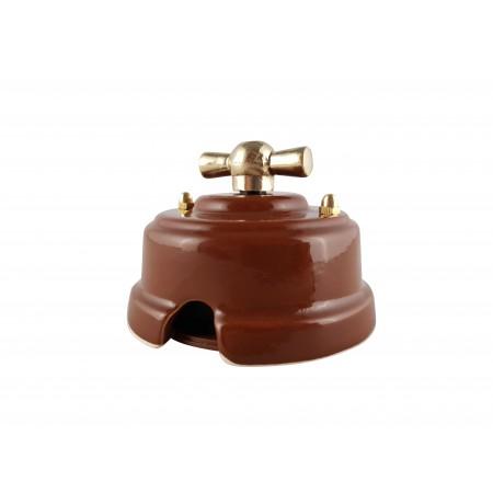 Выключатель (переключатель) фарфоровый поворотный одноклавишный проходной, цвет bruno (коричневый), ручка золото