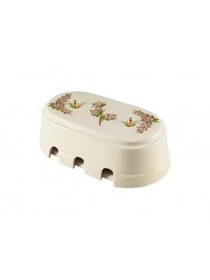 Коробка распаячная большая монтажная фарфоровая, цвет fiori rosa (розовые цветы), золотистая фурнитура