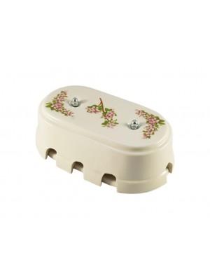 Коробка распаячная большая монтажная фарфоровая, цвет fiori rosa (розовые цветы), серебристая фурнитура