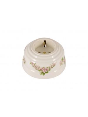 Розетка фарфоровая с/з, цвет fiori rosa (розовые цветы), золотистая фурнитура
