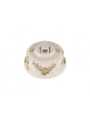 Розетка телефонная фарфоровая, цвет fiori rosa (розовые цветы), золотистая фурнитура