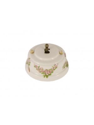 Выключатель фарфоровый однорычажковый, цвет fiori rosa (розовые цветы), тумблер бронза