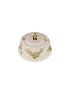 Выключатель фарфоровый однорычажковый проходной, цвет fiori rosa (розовые цветы), тумблер золото