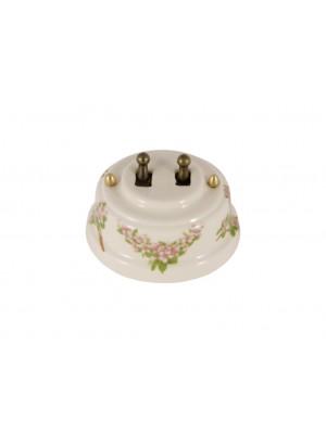Выключатель фарфоровый двухрычажковый, цвет fiori rosa (розовые цветы), тумблер бронза