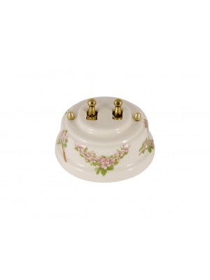 Выключатель фарфоровый двухрычажковый, цвет fiori rosa (розовые цветы), тумблер золото