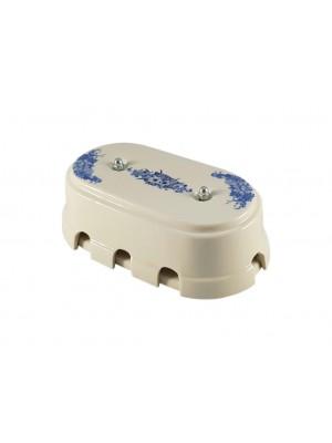 Коробка распаячная большая монтажная фарфоровая, цвет fiori viola (синие цветы), серебристая фурнитура
